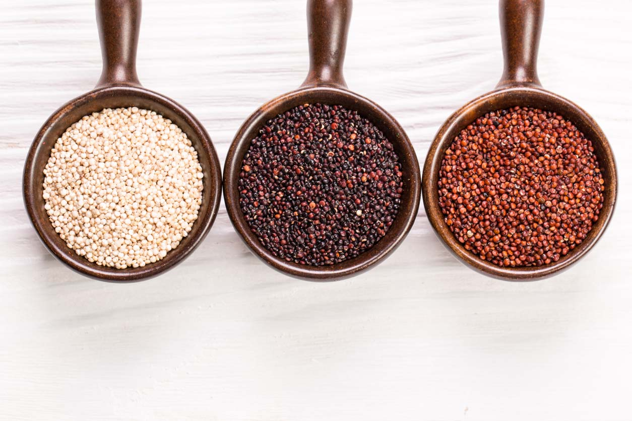 What is quinoa? Red, black, and white quinoa seeds in spoons