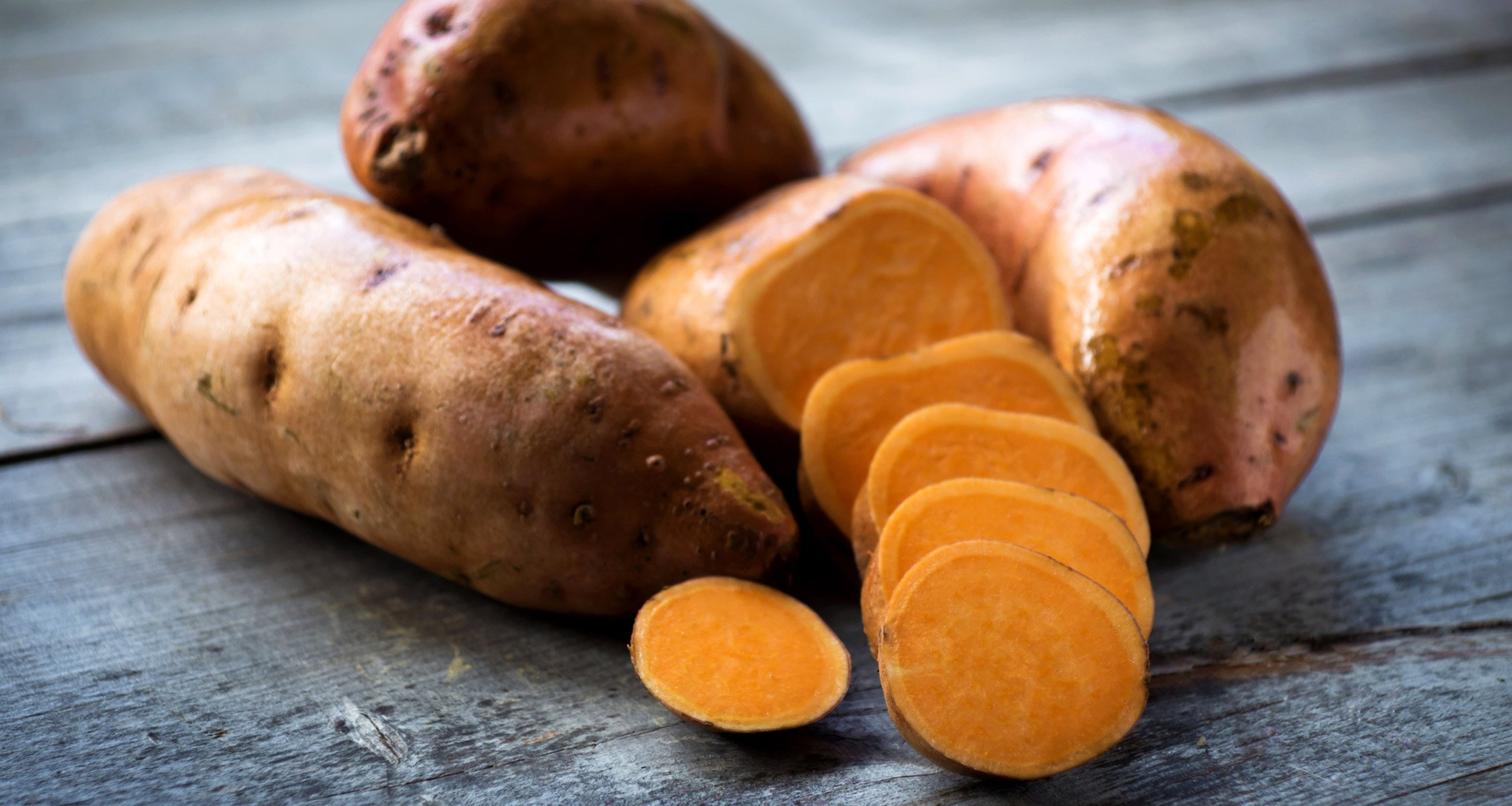 Cut up sweet potatoes