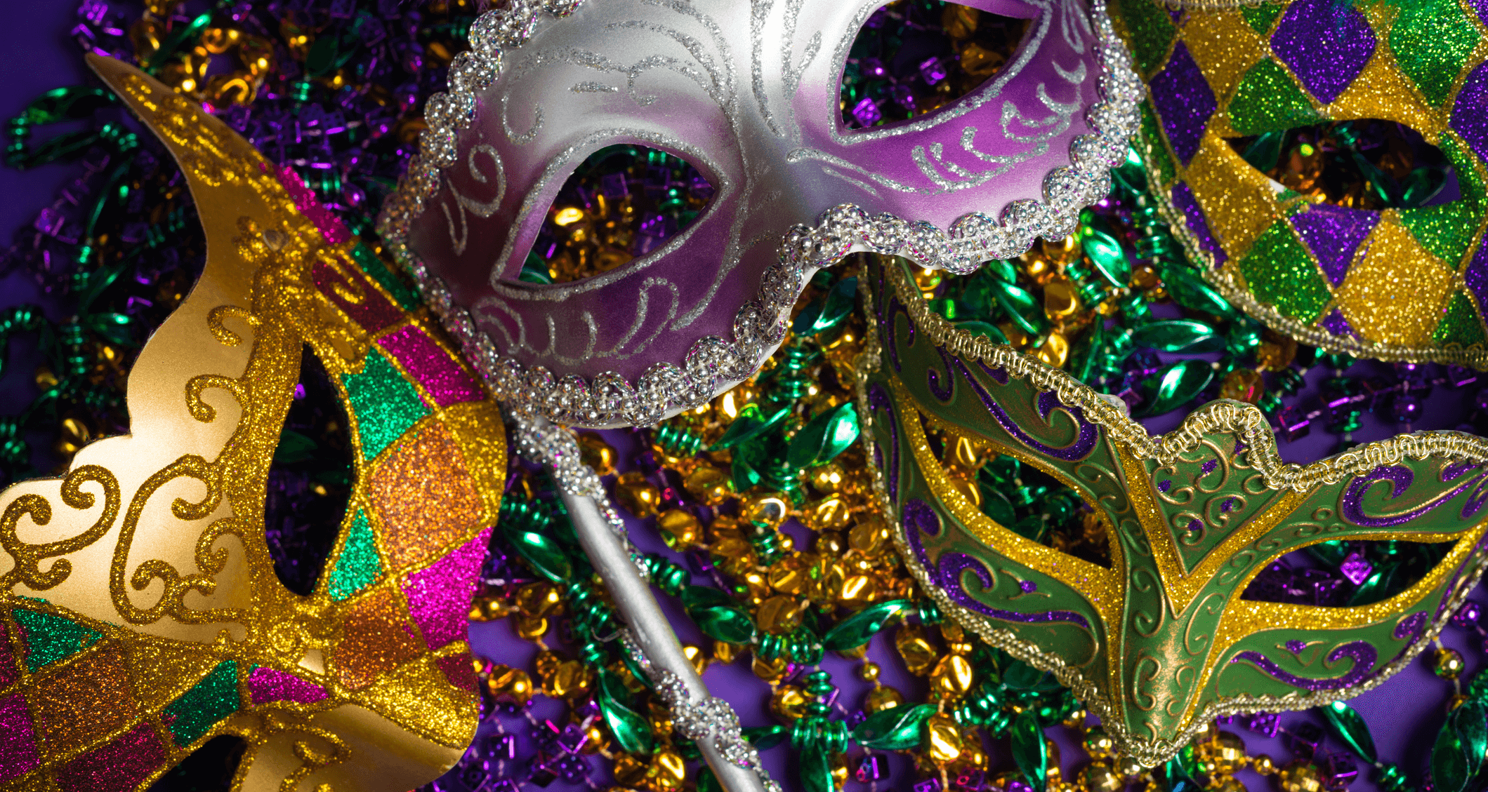 Mardi gras beads and masks