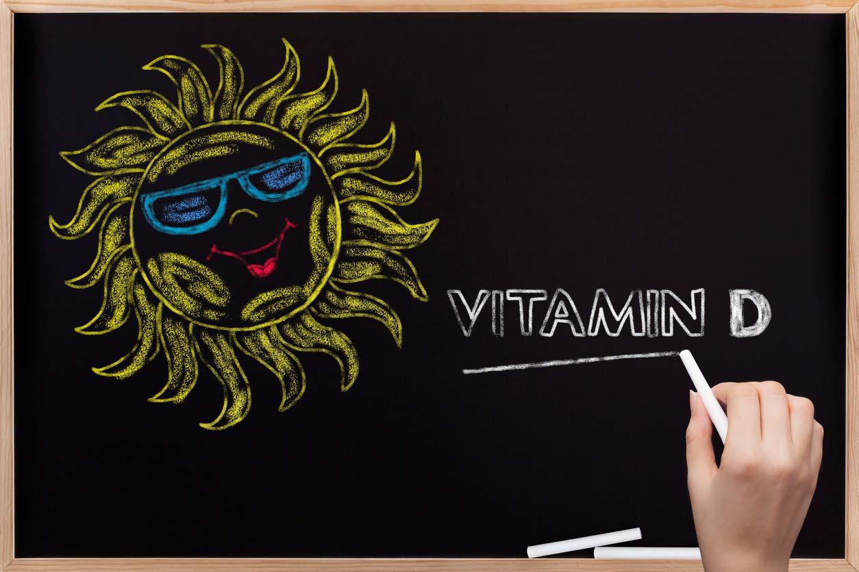 Chalkboard sun illustration with vitamin d
