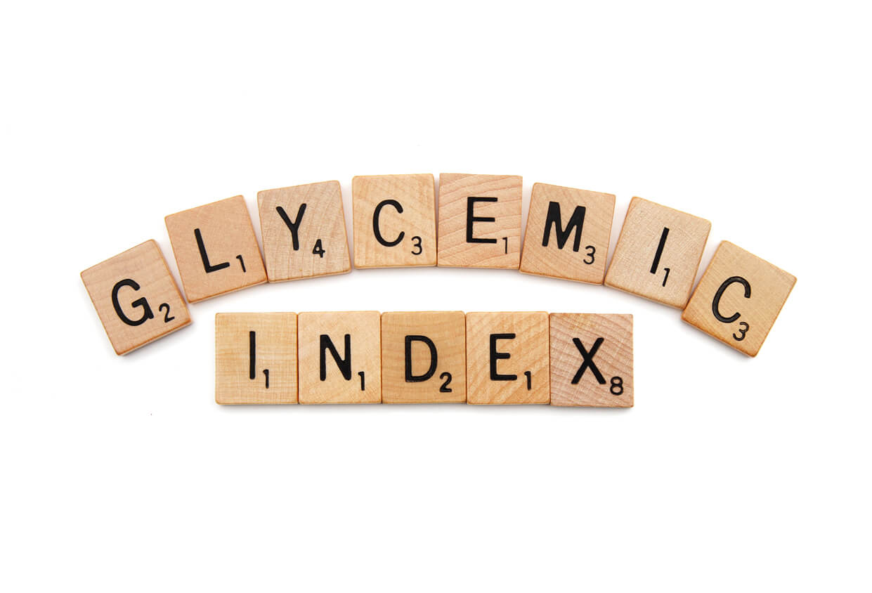 glycemic index spelled out with scrabble letter tiles