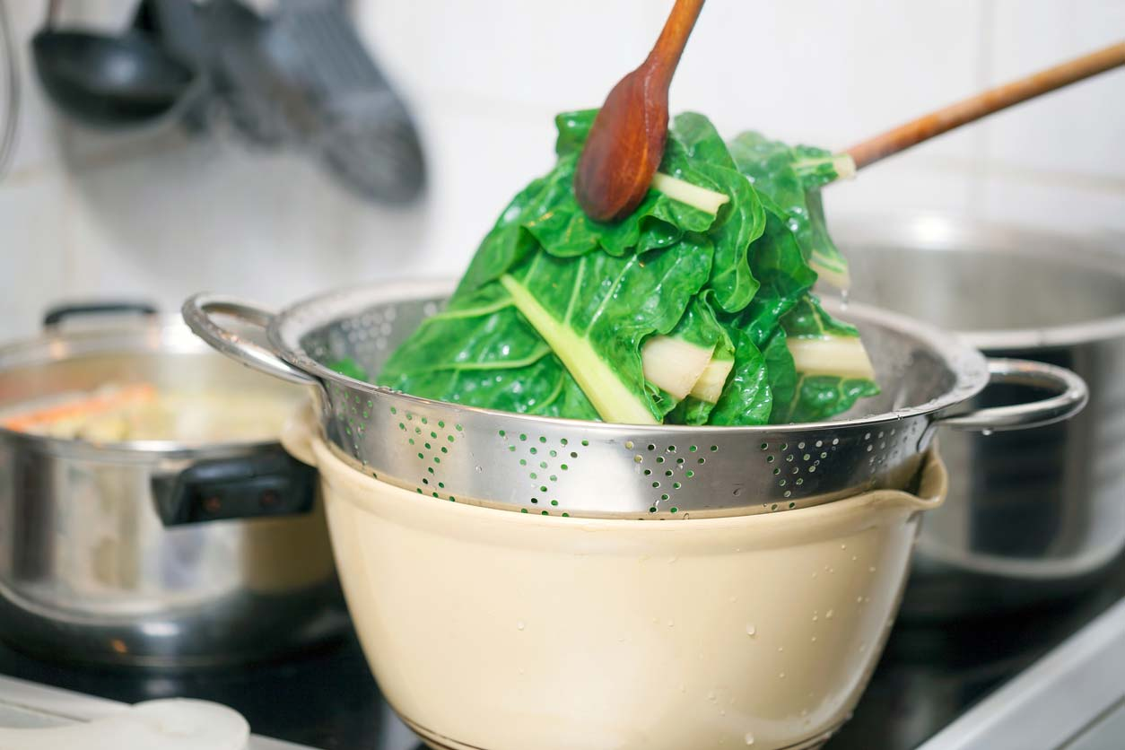 blanching hot chard which is high in oxalates