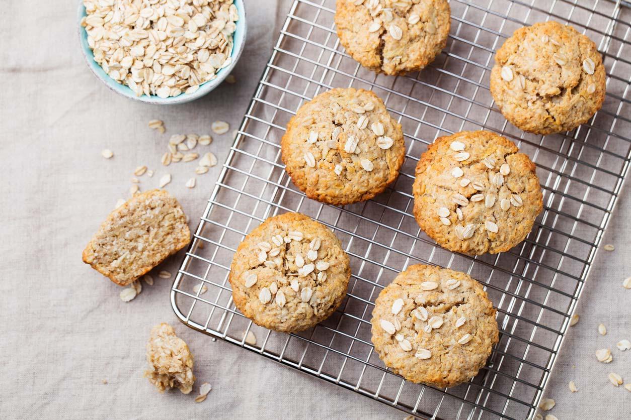 vegan oat muffins on cooling rack