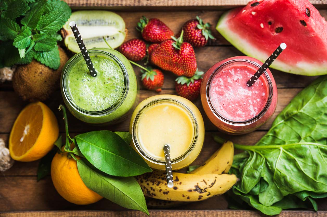 fruit smoothies display