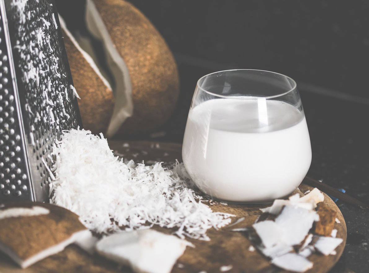 coconut shavings and coconut milk