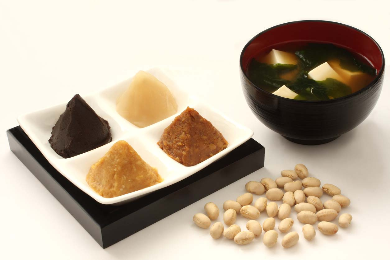 variety of miso types in dish next to miso soup