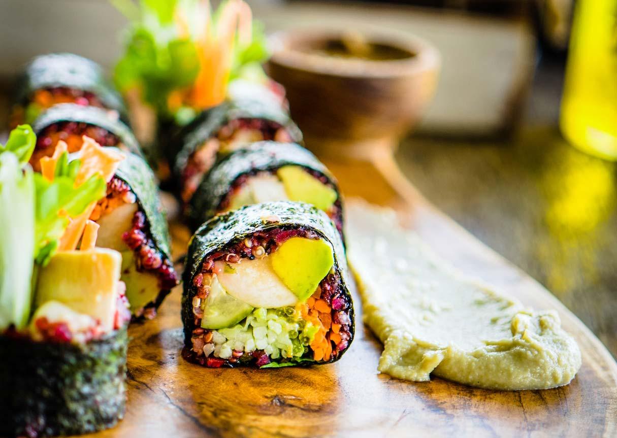 vegetarian sushi nori rolls on board
