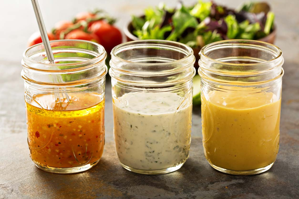 Types of salad dressings in mason jars
