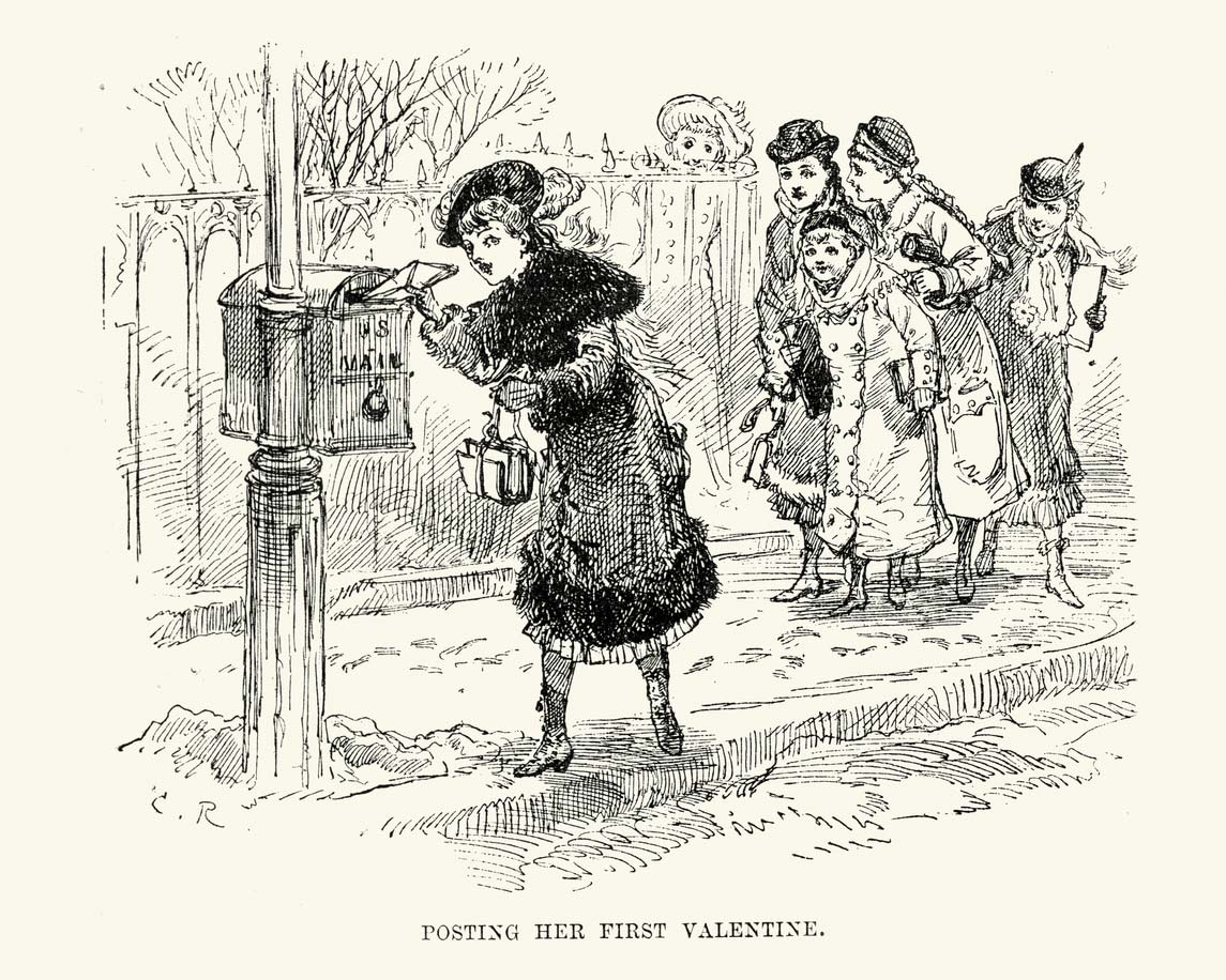 artistic drawing of woman putting valentine in the post