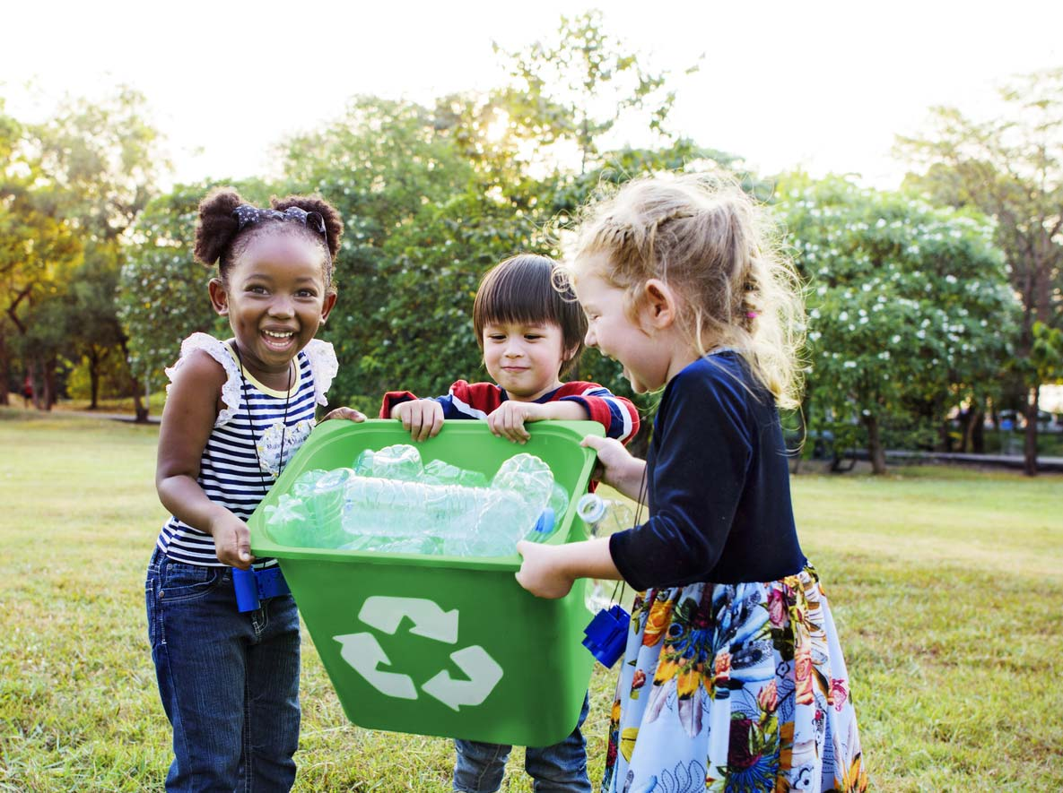 group of kids with recycle bin