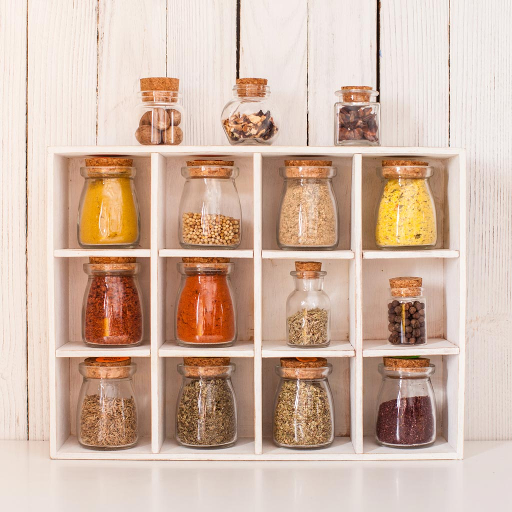 spices in storage jars