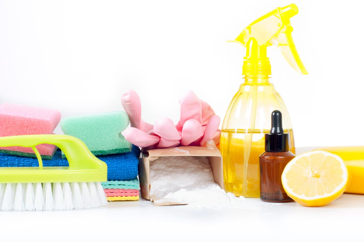 Eco-friendly natural cleaning products and tools