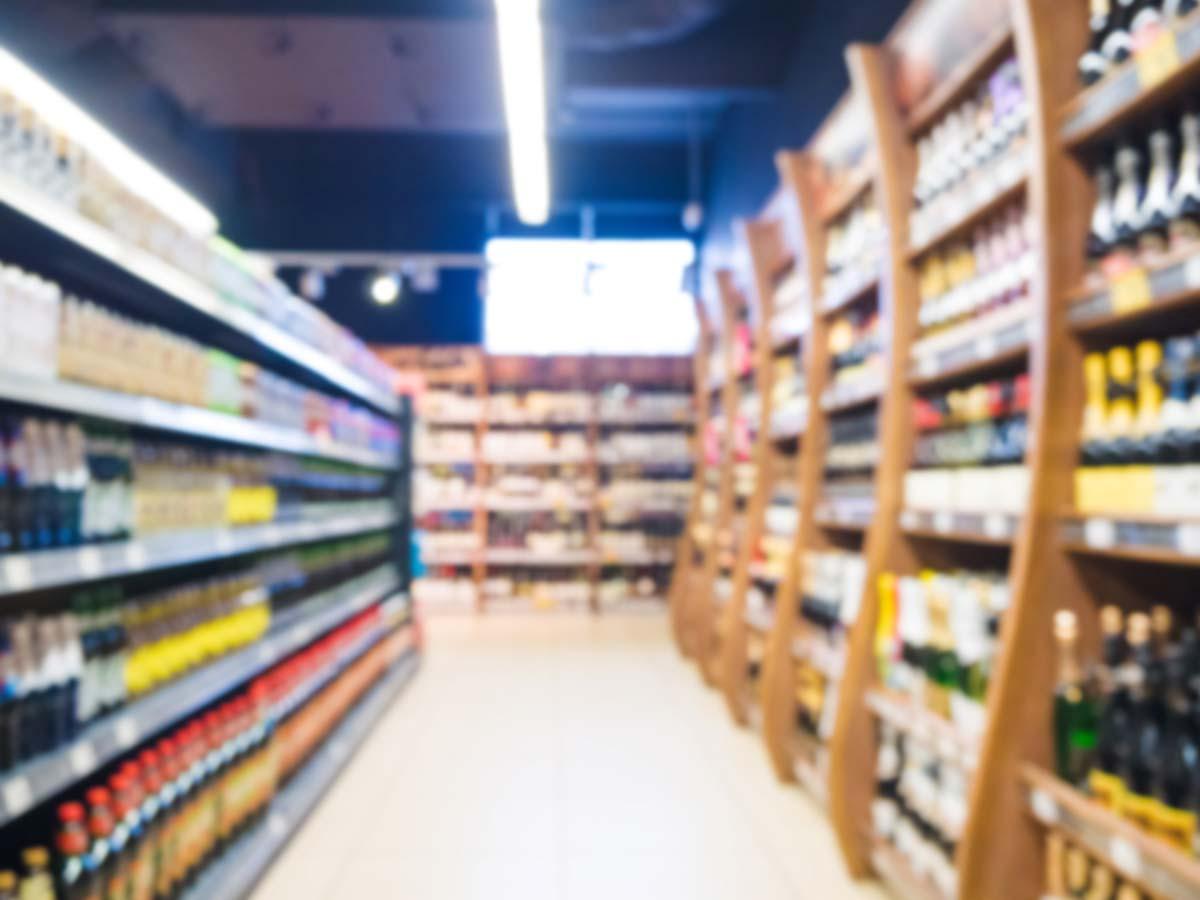 blur of supermarket aisle