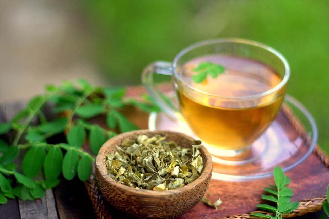 moringa herbal tea on table