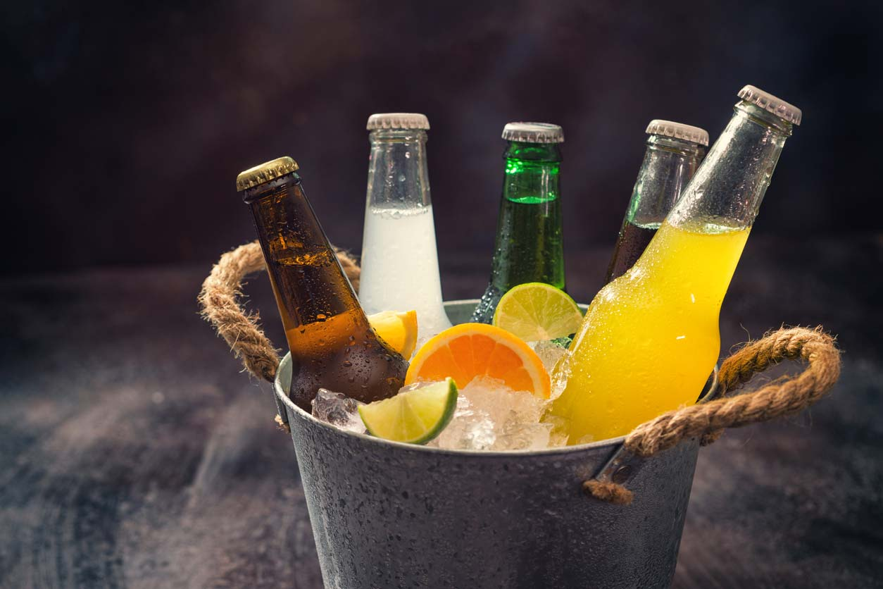 various alcoholic drinks in bucket