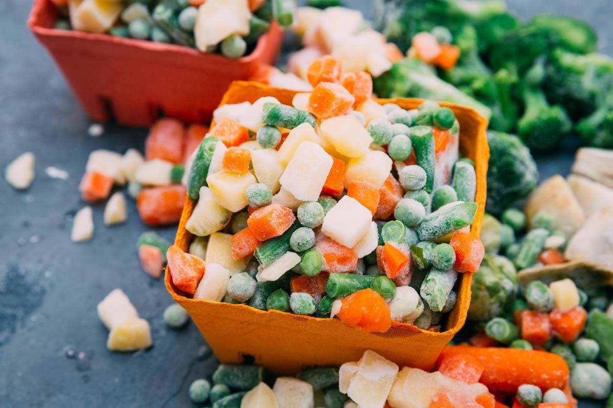 frozen veggie mix in bowls