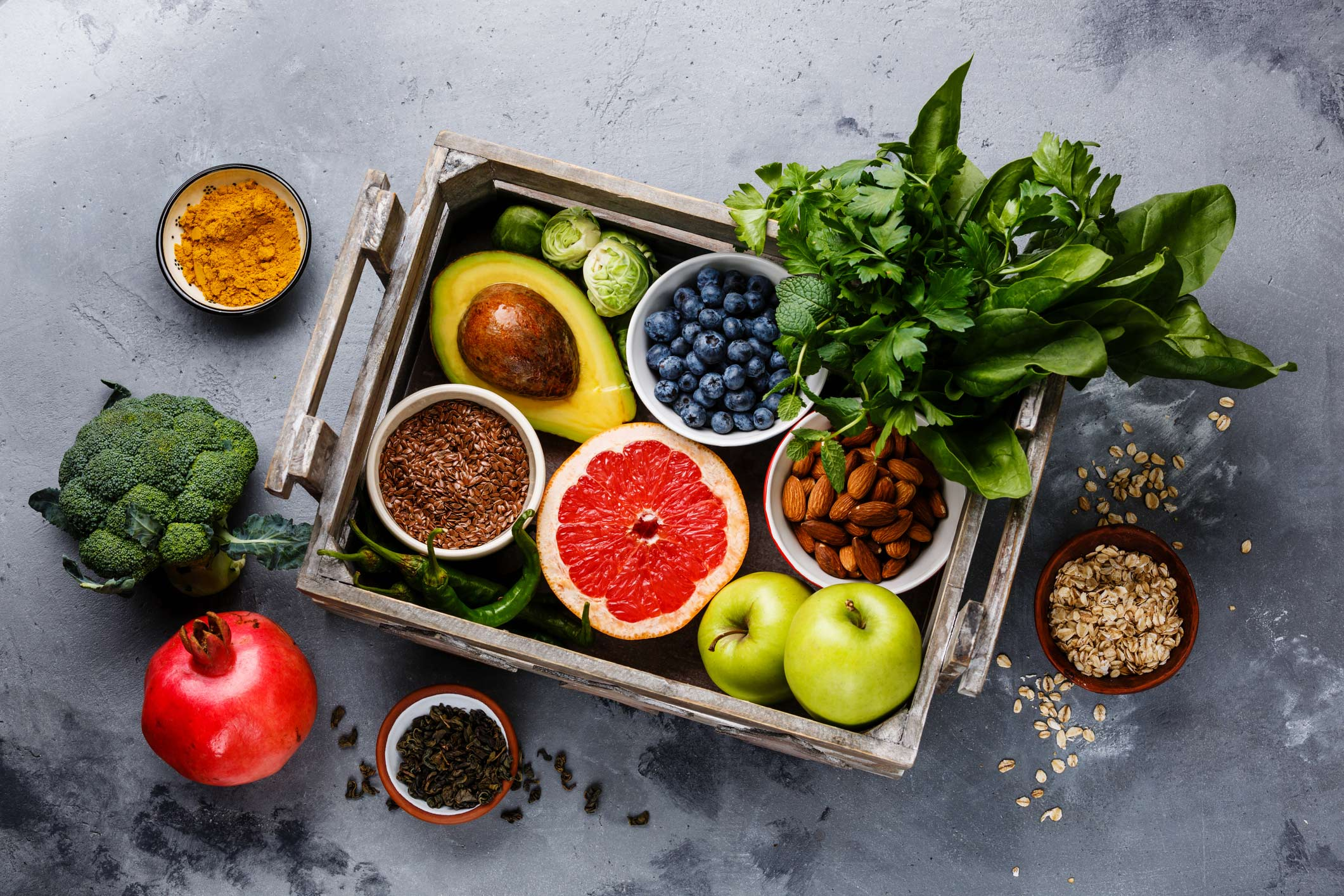 A spread of plant-based foods