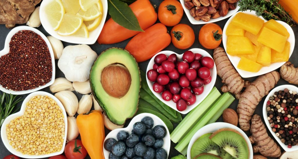 A variety of heart healthy plant foods