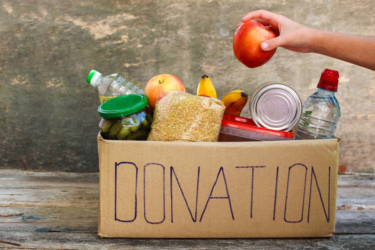 Cardboard box for food donations