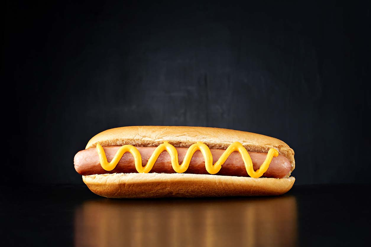 hot dog with mustard - a favorite summer food
