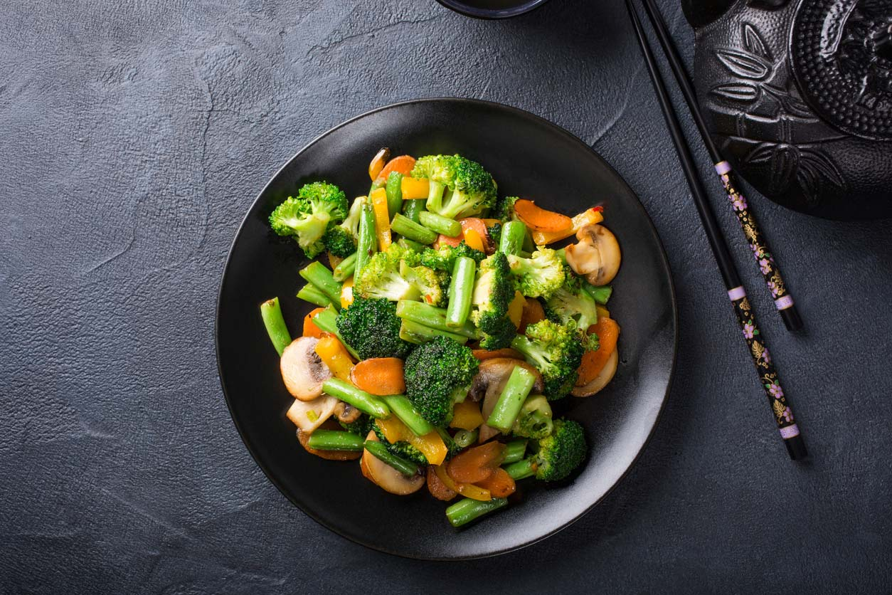 stir fried vegetables in pan