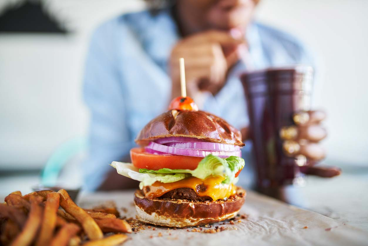 vegan meatless burger meal