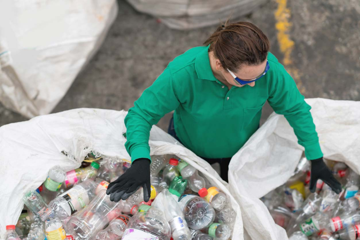 woman working in recycling center