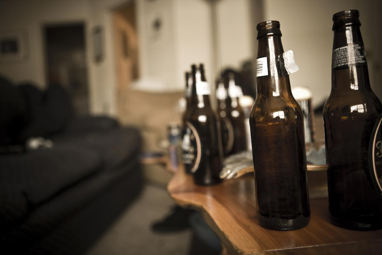 beer bottles on coffee table