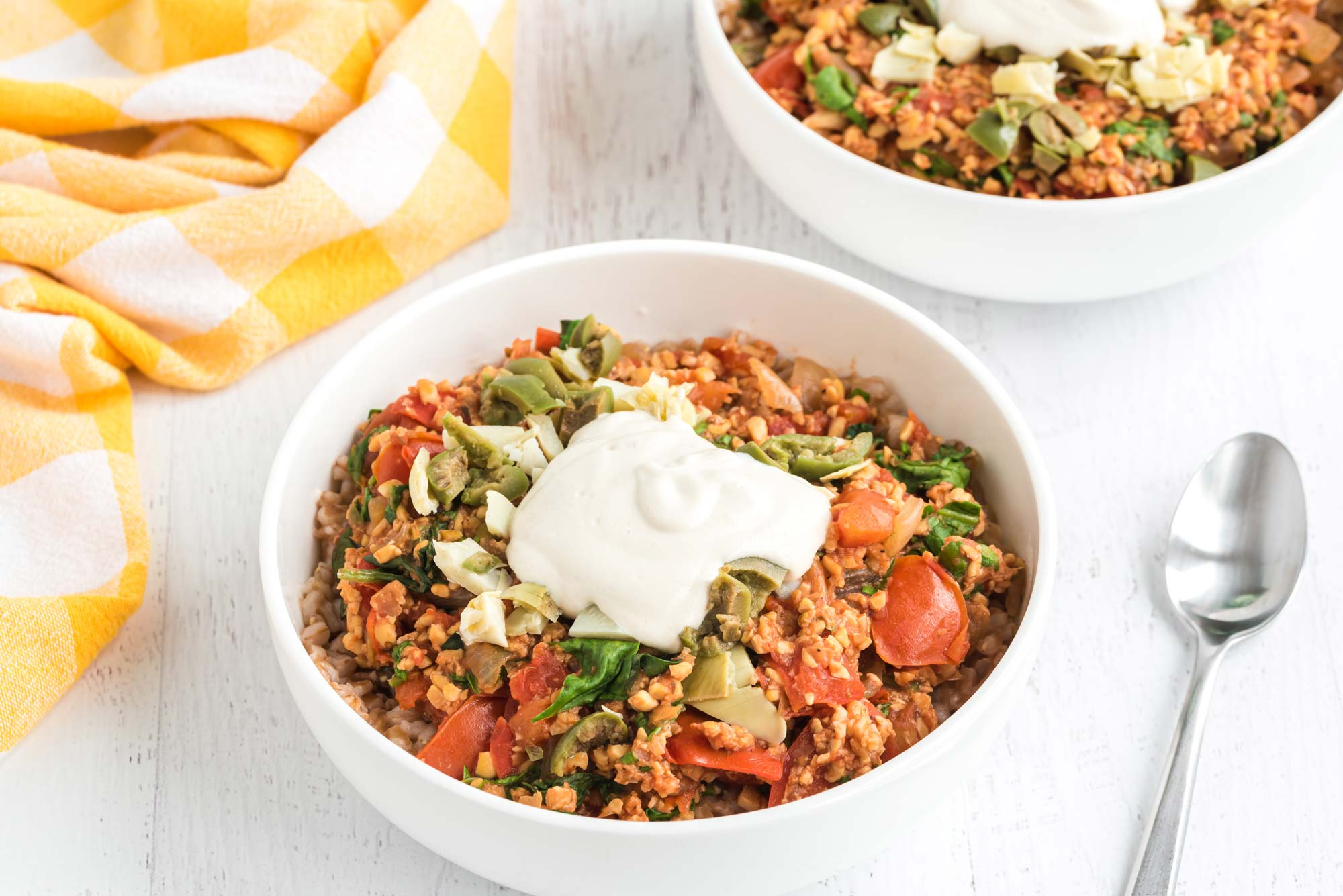 italian farro and spinach bowl