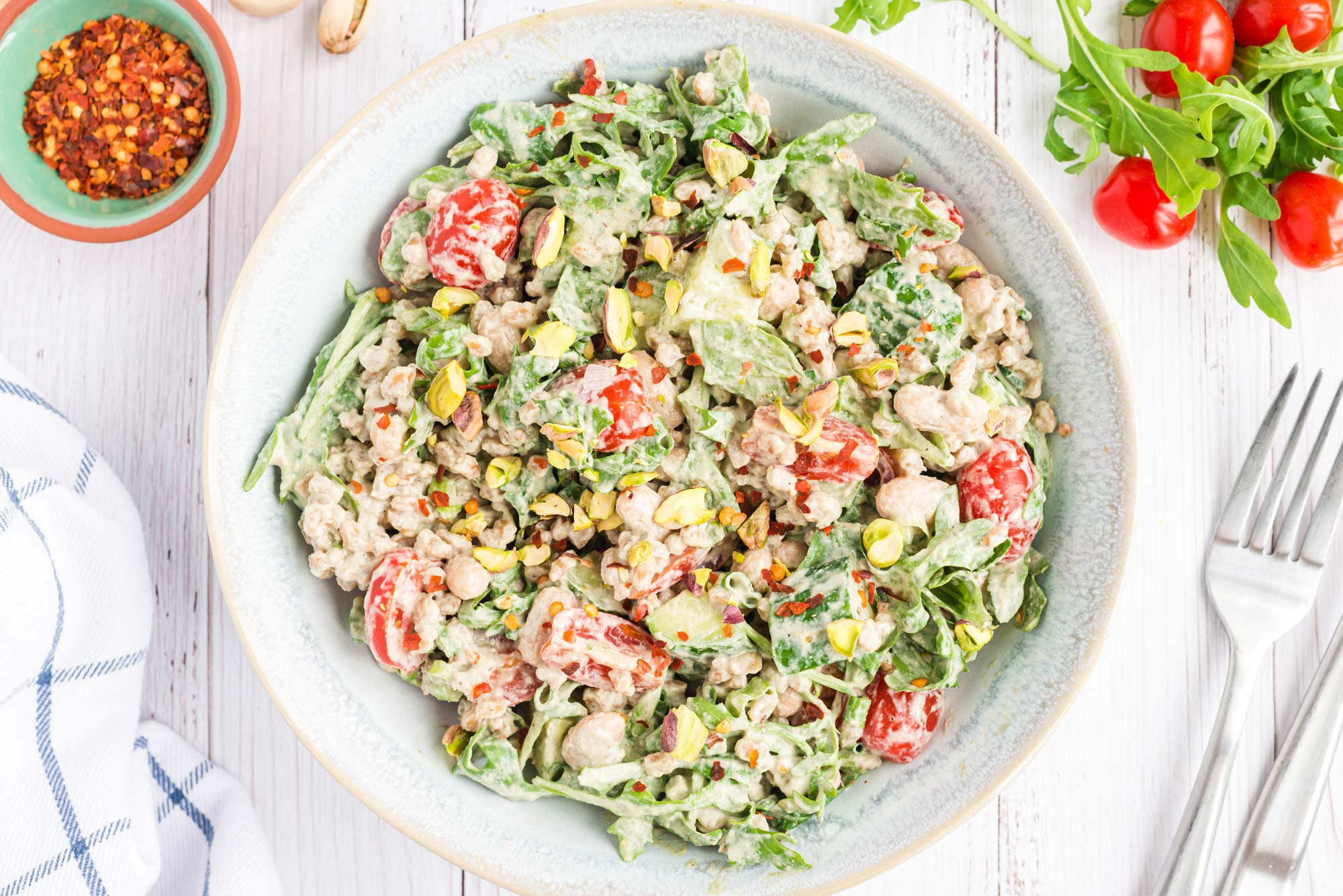 lemon basil farro salad in bowl