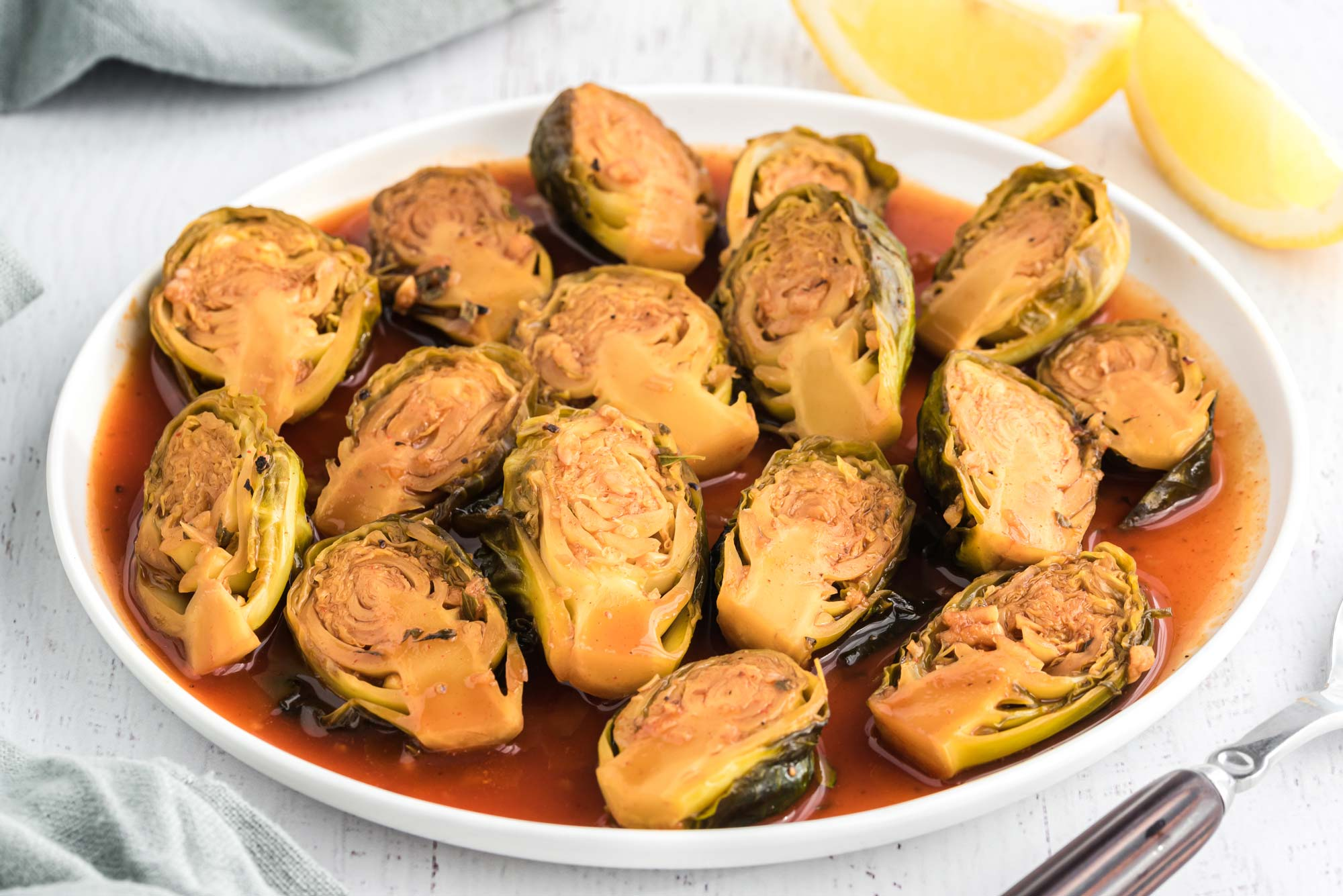 lemon thyme brussel sprouts on dish