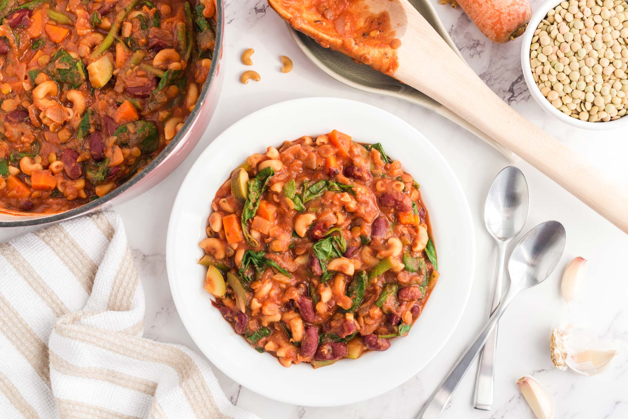 lentil minestrone in bowl