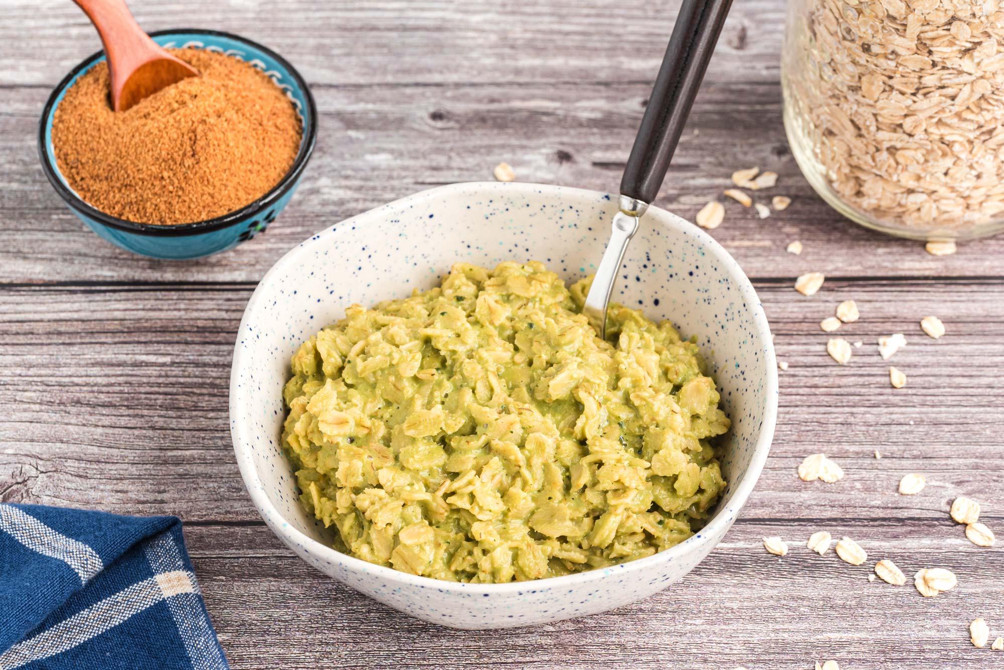 matcha oatmeal in bowl