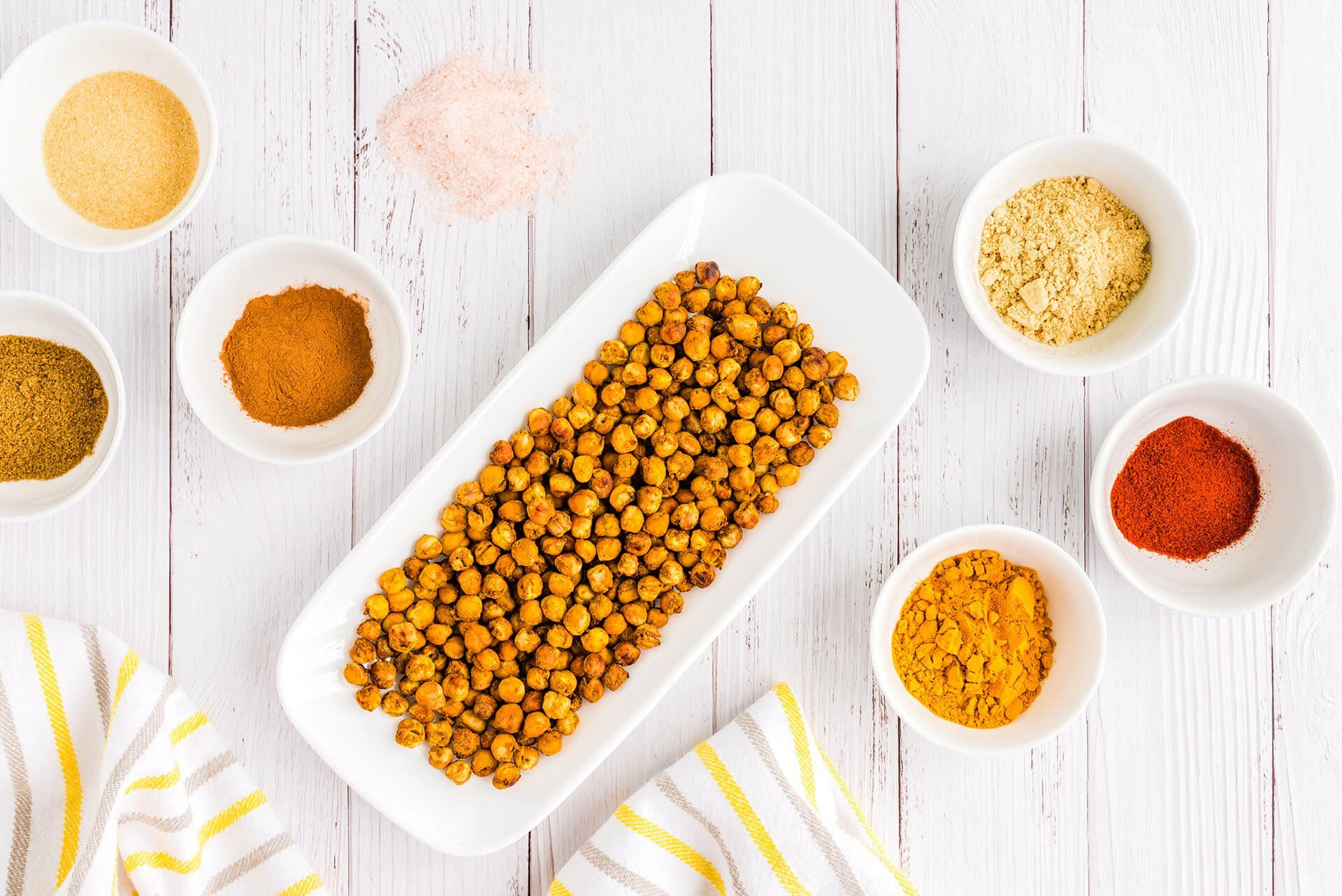 moroccan baked chickpeas on serving tray
