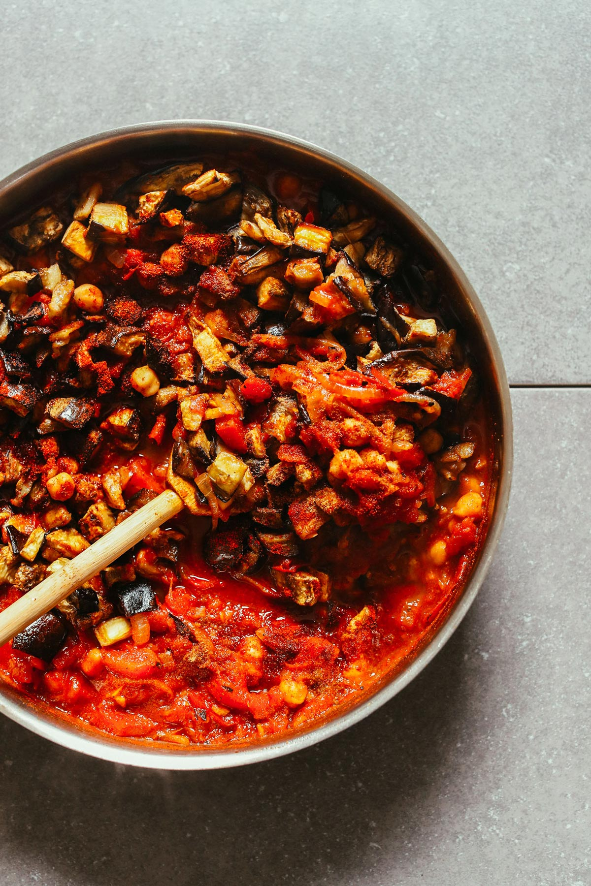 moroccan spiced roasted eggplant tomato stew