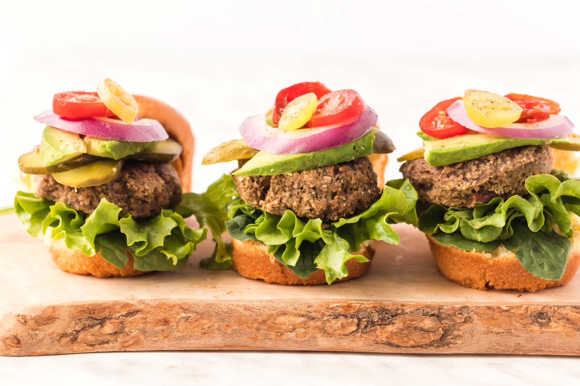 Food combining recipe - Mushroom pecan burgers on cutting board