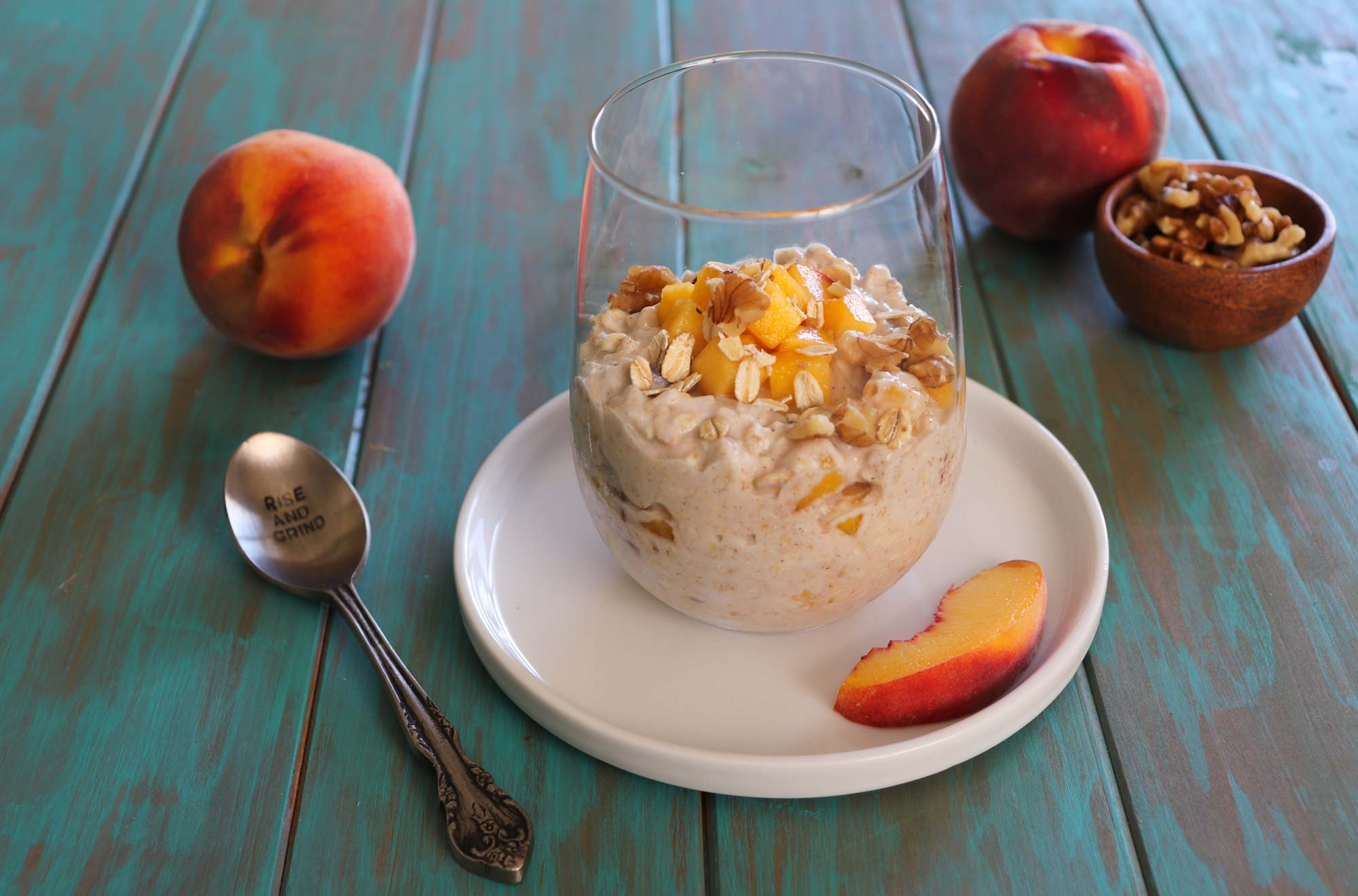 peaches and cream overnight oats in glass