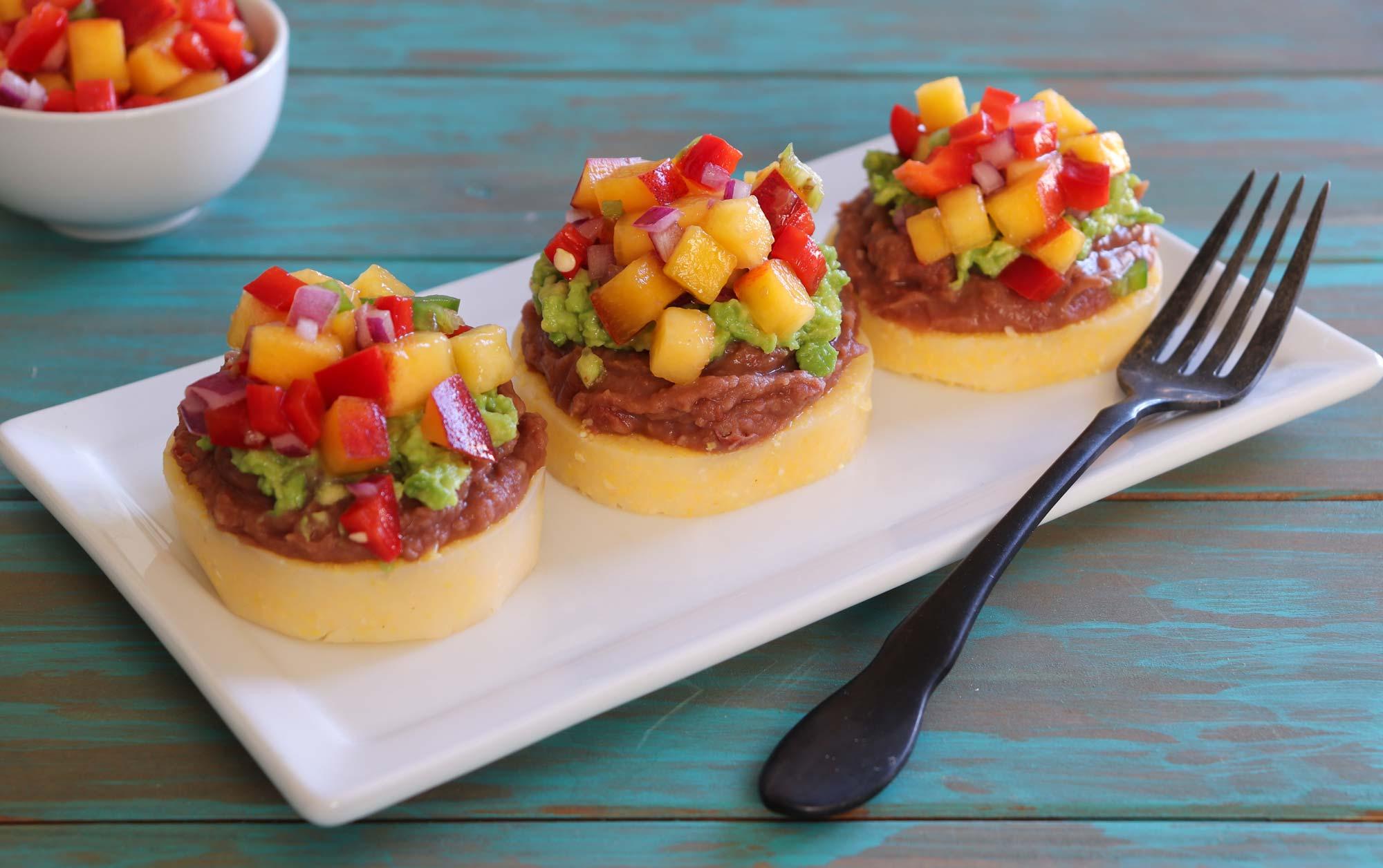 Healthy starters - Peachy polenta bites