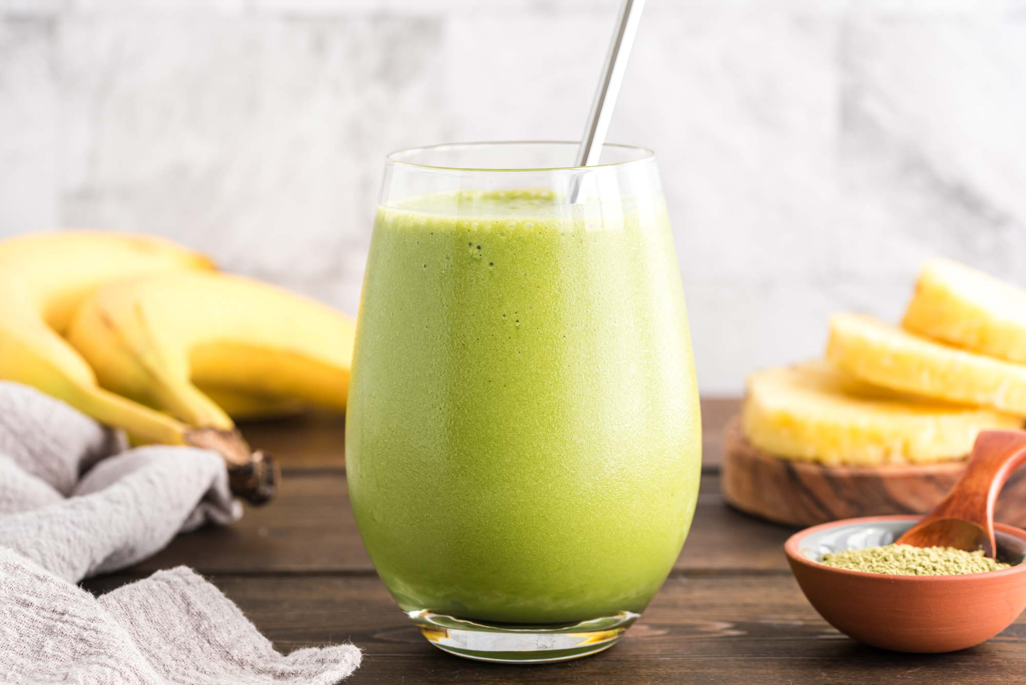 pineapple match rise-n-shine smoothie in glass