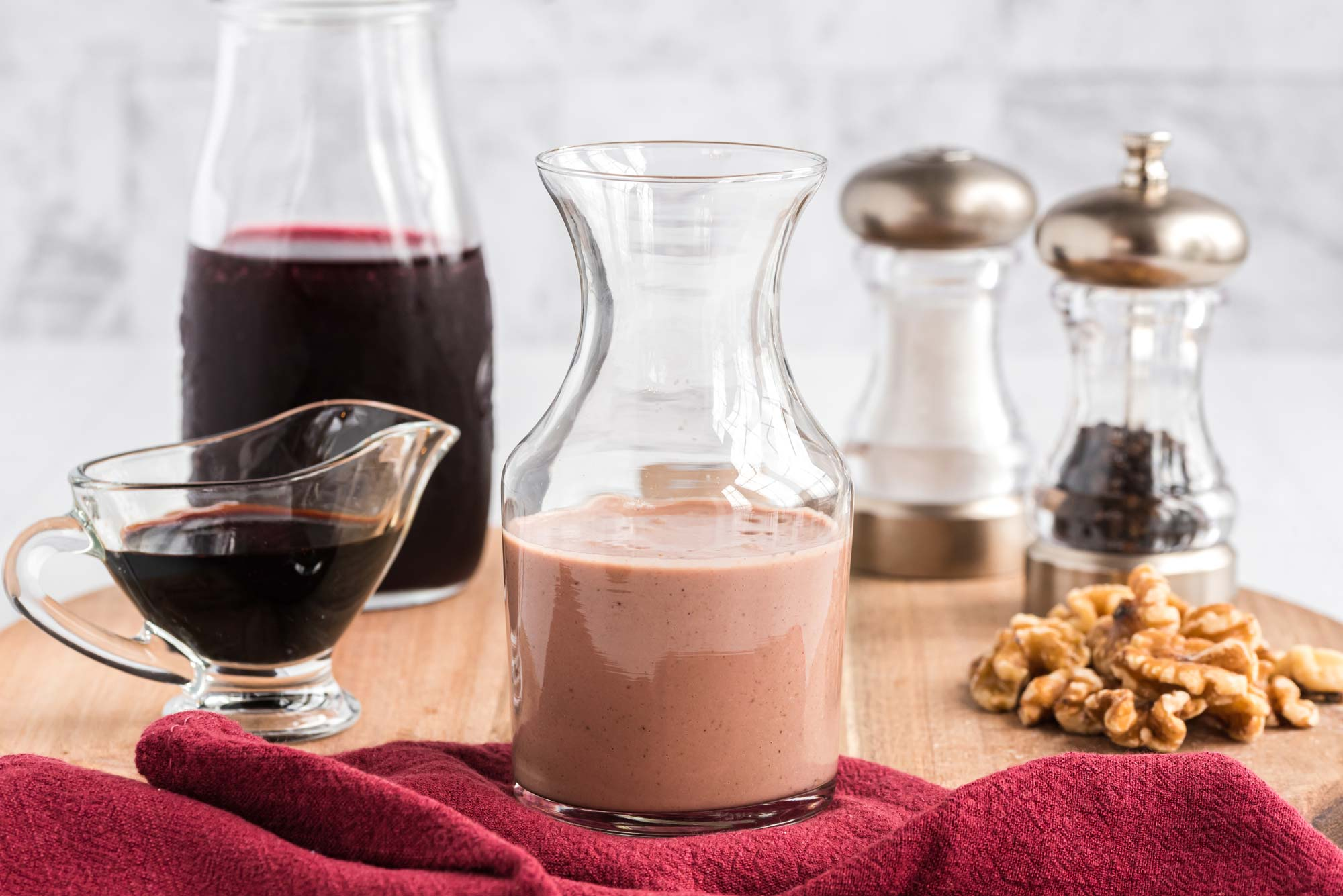 pomegranate balsamic dressing in carafe