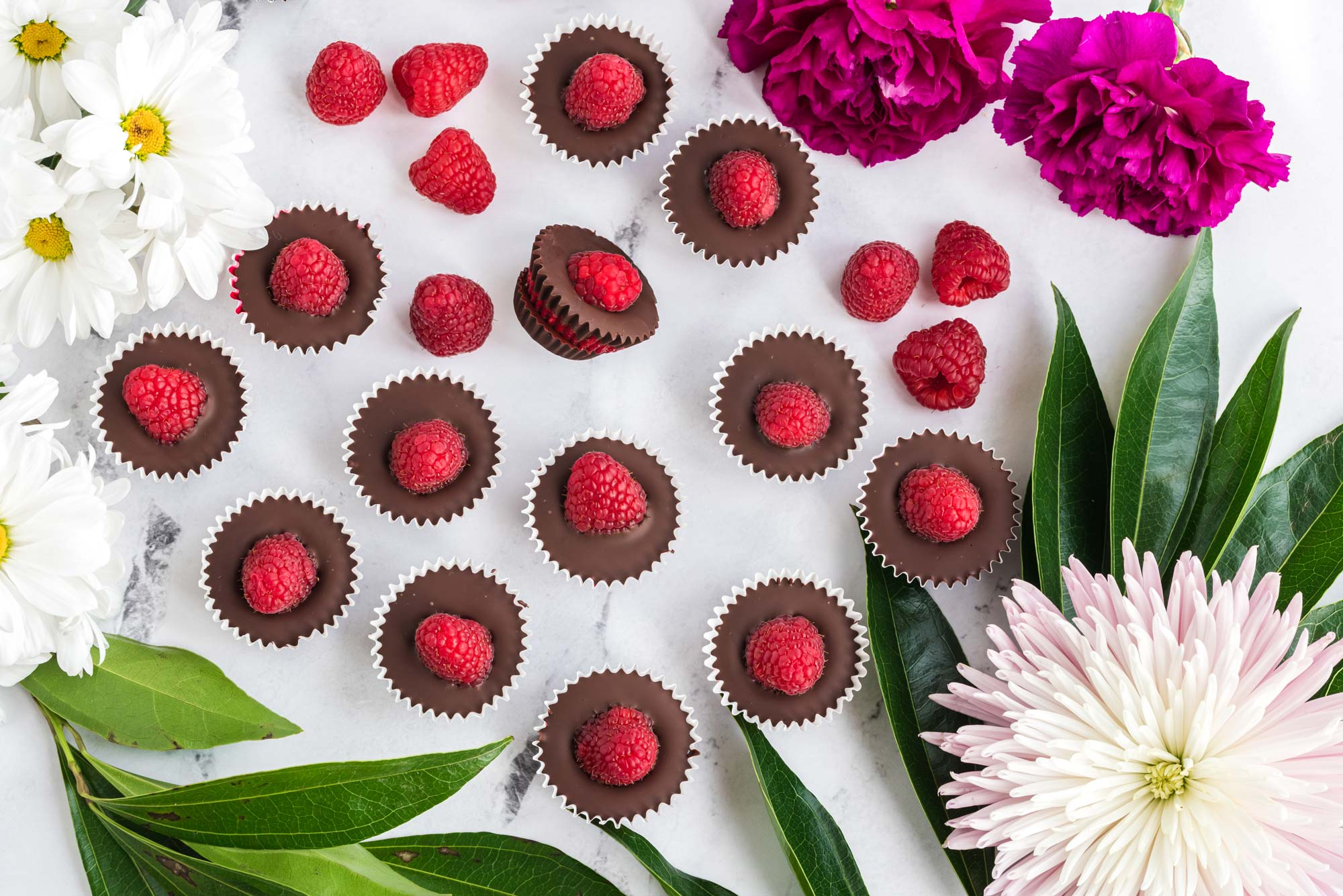 raspberry filled chocolate cups