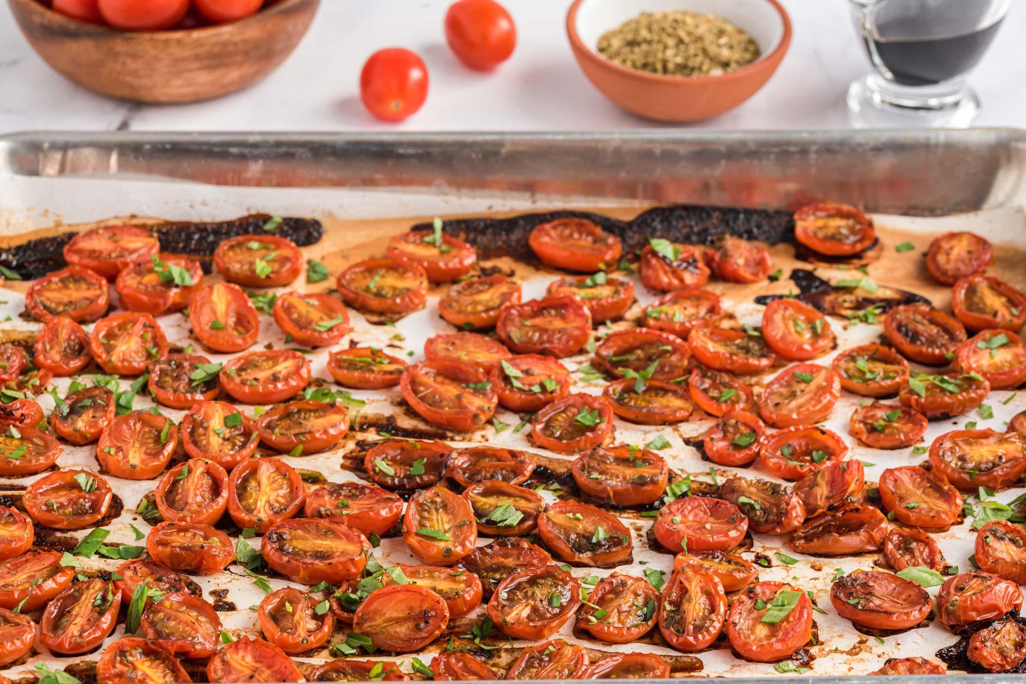 roasted balsamic basil tomatoes on sheet pan