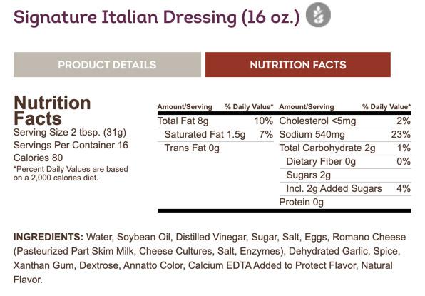 Olive Garden's Signature Italian Dressing label