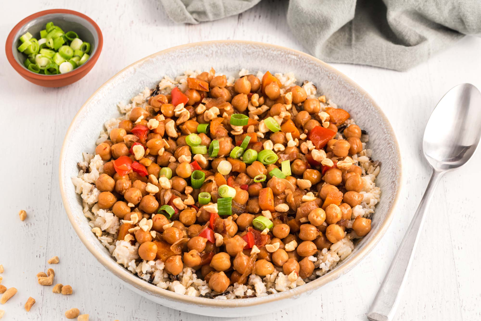 kung pao chickpeas in bowl