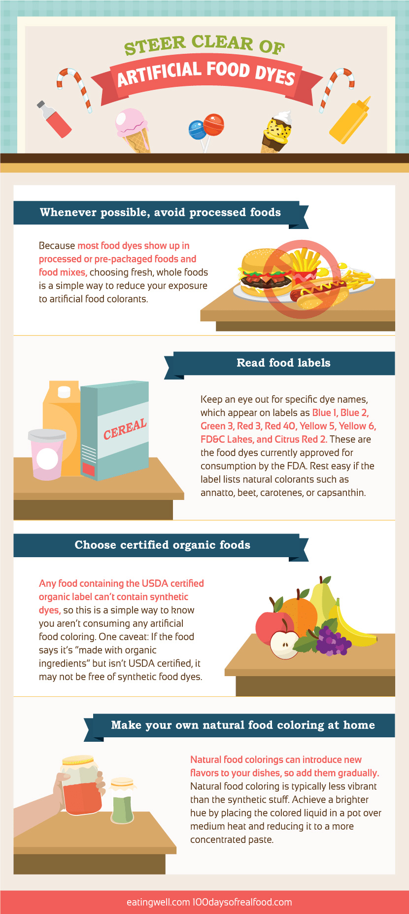 avoid artificial food dyes infographic