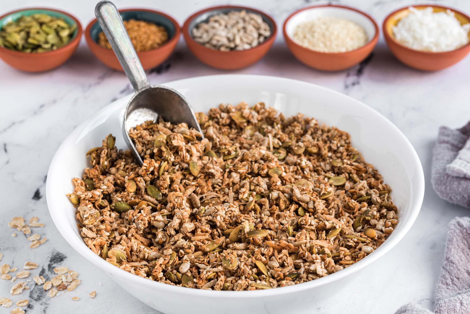 super seedy granola in a bowl
