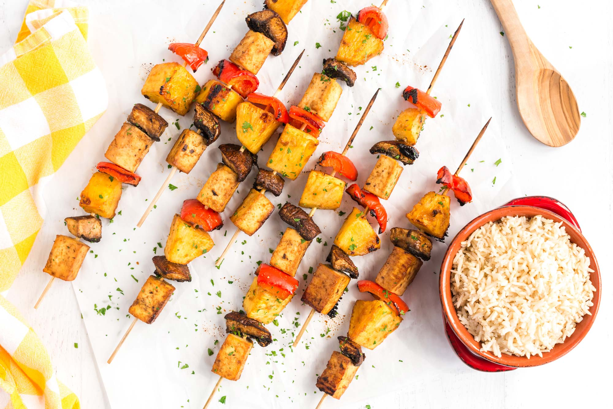 sweet smoky tofu veggie skewers