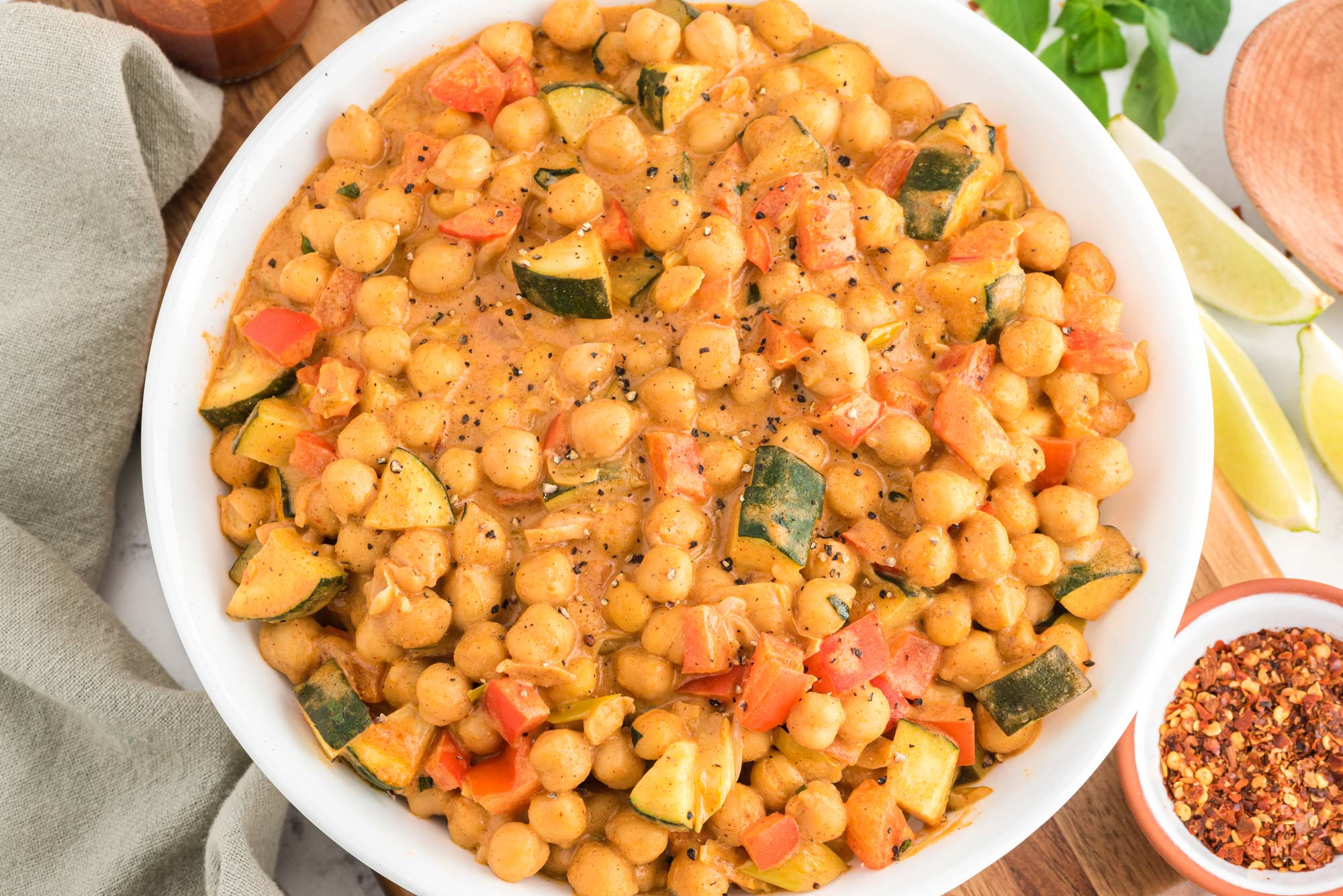 thai almond chickpea curry in bowl