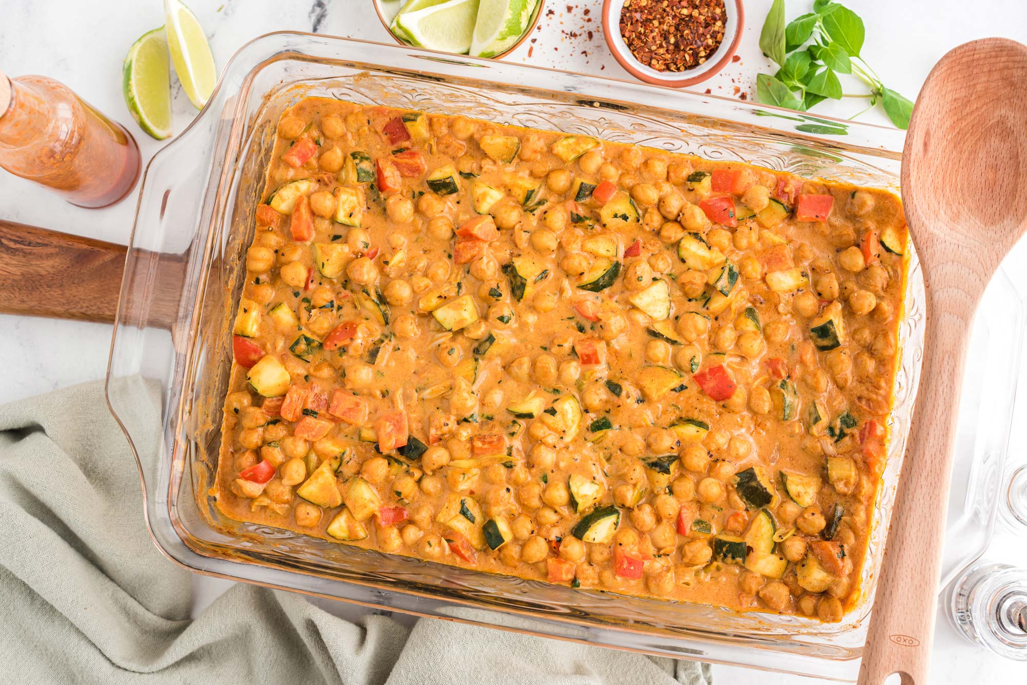 thai almond chickpea curry in baking dish
