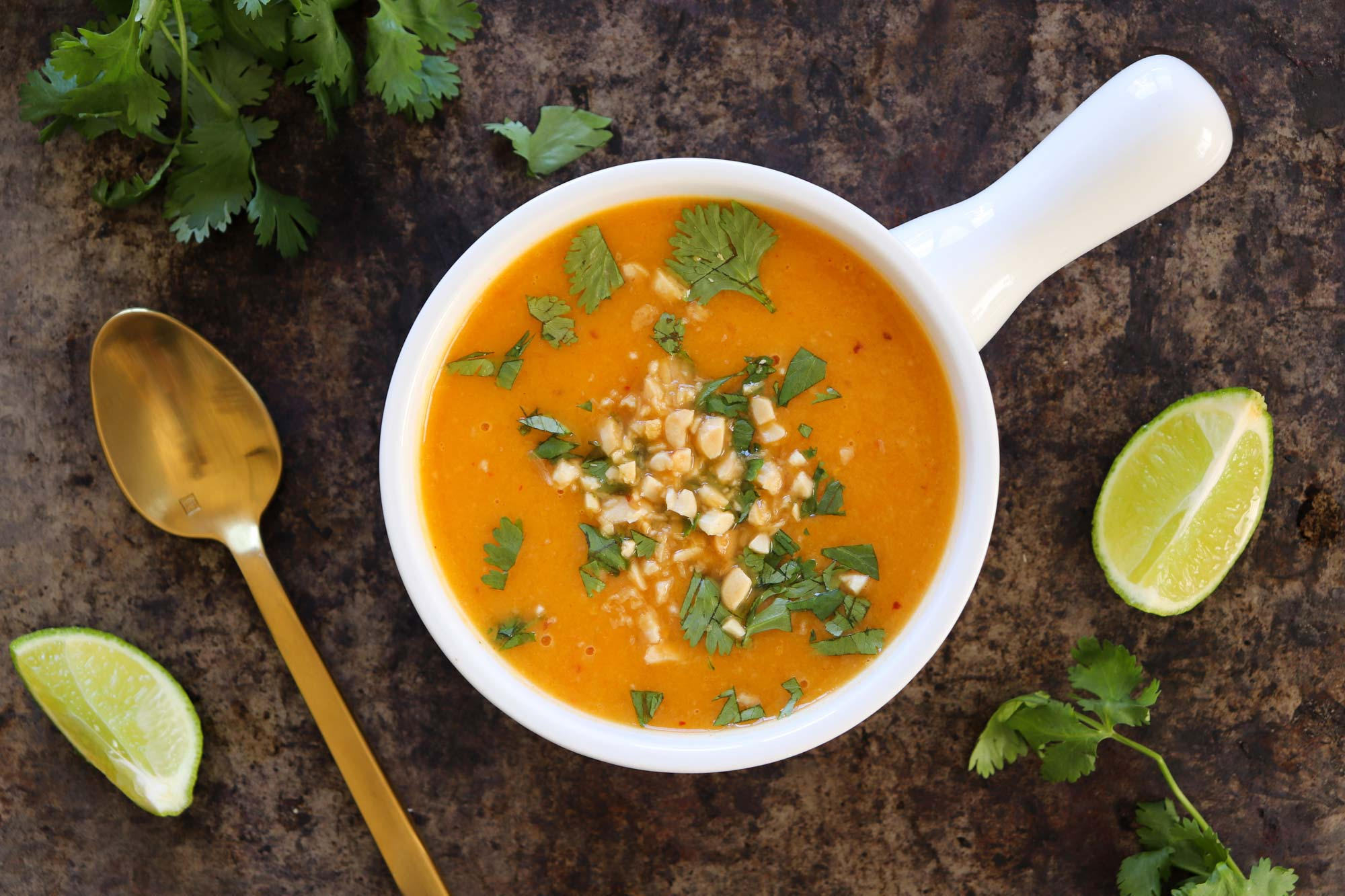 thai curry butternut soup in serving bowl